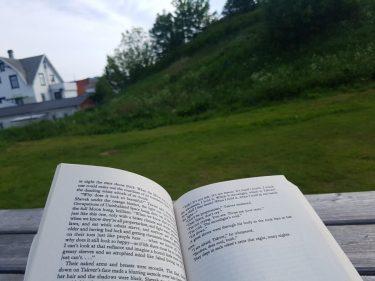 Bok i parken. Jeg har perioder da jeg ikke kan fokusere, men også perioder da jeg leser mye. Jeg er en sakte leser, men leser gjerne i parken.